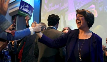 Sen. Amy Klobuchar, D-Minn., celebrates during the election night event held by the Democratic Party Tuesday, Nov. 6, 2018, in St. Paul, Minn