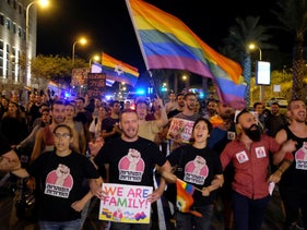 Members of Israel's LGBTQ community protest law on surrogacy rights that excludes gay men, Tel Aviv, Israel, January 31, 2018.