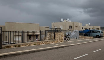 The street in the Alei Zahav settlement that has some houses constructed on private Palestinian land, February 9, 2019.