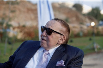 American casino tycoon Sheldon Adelson, owner of the free daily Israel Hayom, August 19, 2018.