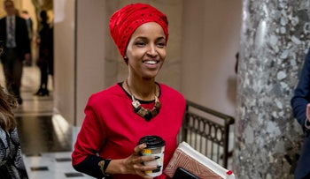 Rep. Ilhan Omar walks through the halls of the Capitol Building in Washington, January 16, 2019.