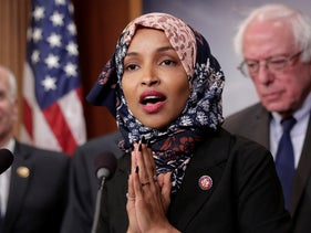 Rep. Ilhan Omar at a news conference on Capitol Hill on drug price legislation introduced by Sen. Bernie Sanders. January 10, 2019.