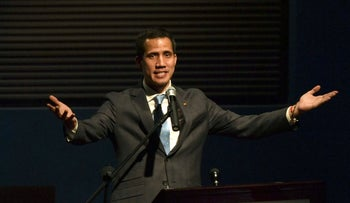 Venezuela's self-proclaimed acting president Juan Guaido speaks in Caracas, February 11, 2019.