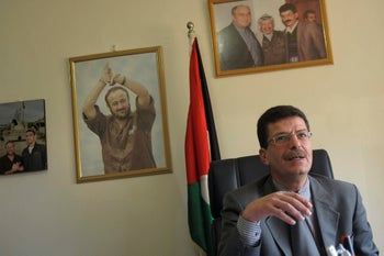 The director of the Palestinian Prisoners Club, Qadura Fares, in his Ramallah office.