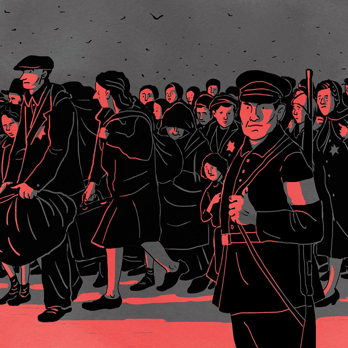 Illustration of Soviet citzens being escorted to their deaths by Nazi guards in August 1942.