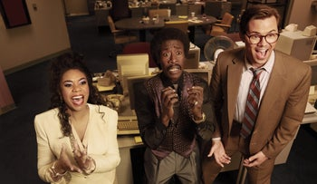 """Regina Hall as Dawn, Don Cheadle as Mo and Andrew Rannells as Blair in """"Black Monday."""" An exercise in excess and success."""