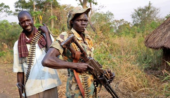 Opposition soldiers in Panyume town, the headquarters for the opposition in Central Equatoria state, South Sudan, January 8, 2019.
