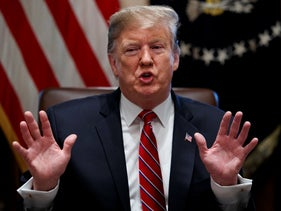 President Donald Trump speaks during a cabinet meeting at the White House, Tuesday, Feb. 12, 2019, in Washington.