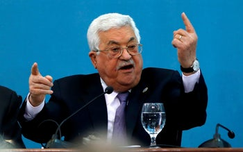 File photo: Palestinian President Mahmoud Abbas speaks at the Palestinian Peace and Freedom Forum in Ramallah, February 6, 2019.