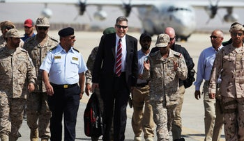Matthew Tueller, the U.S. ambassador to Yemen, arrives at an air base for a military ceremony in Mukalla, Yemen, November 29, 2018.