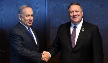 Prime Minister Benjamin Netanyahu and U.S. Secretary of State Mike Pompeo in Warsaw, Poland, February 14, 2019.