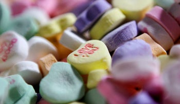 """Valentine's Day """"Sweethearts"""" candy."""