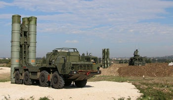 FILE Photo: A Russia's S-400 air defense missile systems at the Hmeimim airbase in the Syrian province of Latakia.
