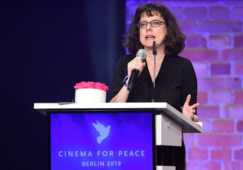 "Co-director Julie Cohen speaking about ""RBG – A Life for Justice"" after receiving an award at the ""Cinema for Peace Gala"" in Berlin, February 11, 2019."