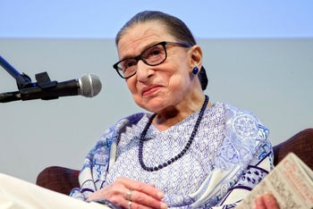 "U.S. Supreme Court Justice Ruth Bader Ginsburg attending a screening of ""RBG"" at the cinematheque in Jerusalem, July 5, 2018."
