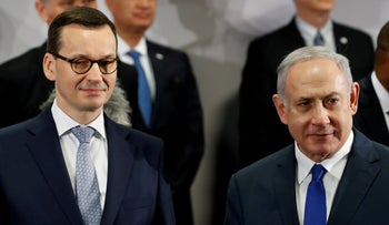 Netanyahu and Polish Prime Minister Mateusz Morawiecki during the Middle East summit in Warsaw, Poland, February 14, 2019