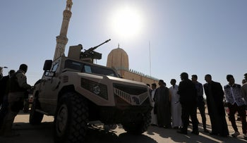 File photo: Military armoured vehicle securing worshippers outside a mosque in Bir Al-Abed, northern Sinai, Egypt, December 1, 2017.