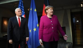 German Chancellor Angela Merkel and U.S. Vice President Mike Pence during the 55th Munich Security Conference in Munich, Germany, February 16, 2019.