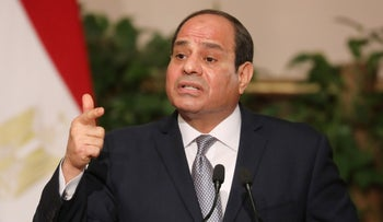 Egyptian President Abdel Fattah al-Sissi speaks during a joint press conference with his French counterpart after their meeting in Cairo on January 28, 2019.