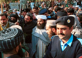 Masood Azhar, leader of the Pakistan-based militant group Jaish-e-Mohammed, arrives in Islamabad. China has in the past blocked India's proposal to list Azhar as a UN-designated terrorist. Jan. 27, 2000