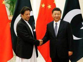 Chinese President Xi Jinping meets Pakistani Prime Minister Imran Khan at the Great Hall of the People in Beijing, China. Nov. 2, 2018