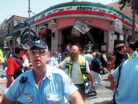 FILE PHOTO: The scene of an attack during the second Intifada, Jerusalem, Israel, 2001.