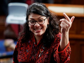 Then Rep.-elect Rashida Tlaib of Michigan, on the house floor before being sworn into the 116th Congress at the U.S. Capitol in Washington. Jan. 3, 2019