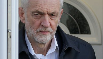 UK Labour Party leader Jeremy Corbyn leaves his home in London on February 19, 2019