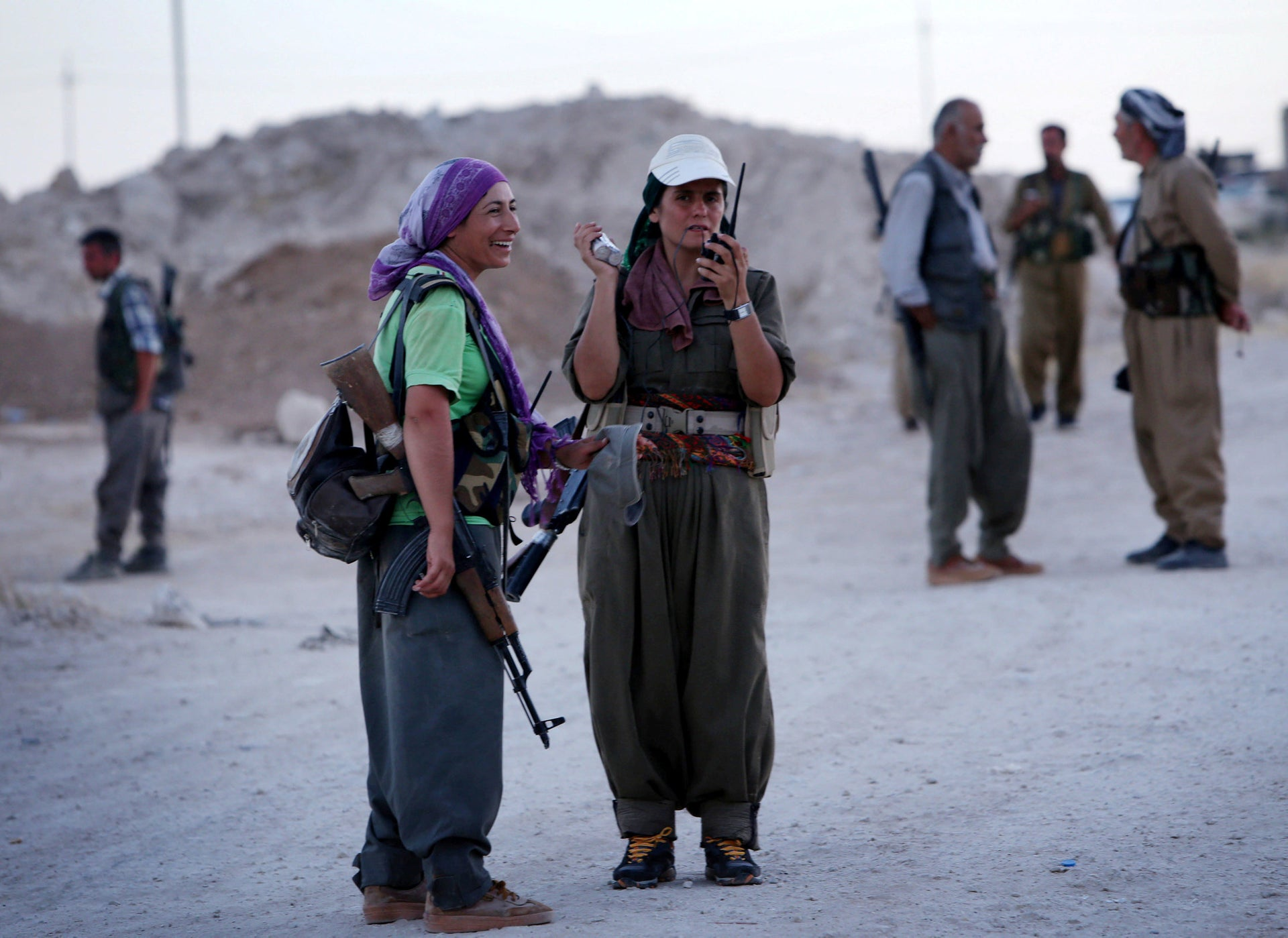 Female members of the PKK on the front line near Arbil, the capital of the autonomous Kurdish region of northern Iraq, August, 2014.