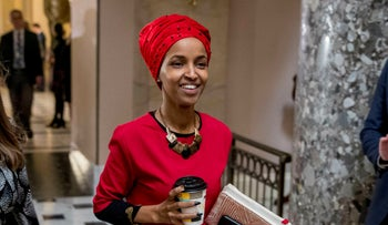In this Jan. 16, 2019 file photo, Rep. Ilhan Omar, D-Minn., walks through the halls of the Capitol Building in Washington.