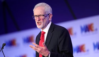 Jeremy Corbyn, leader of the Labour Party, gives a speech at the EEF National Manufacturing conference, in London, February 19, 2019.