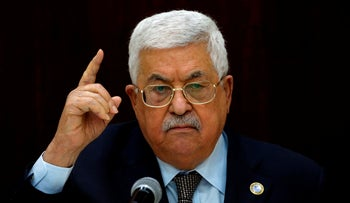 Palestinian President Mahmoud Abbas speaks during a meeting with Palestinian leaders at the Muqata, the Palestinian Authority headquarters, in the West Bank city of Ramallah, on February 20, 2019.