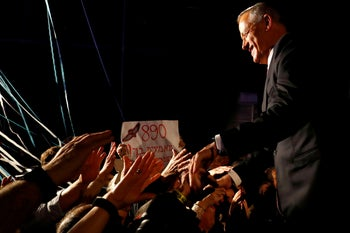 Benny Gantz greets supporters at a campaign event in Tel Aviv, February 19, 2019.