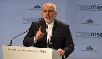 Iran's Foreign Minister Mohammad Javad Zarif delivers a speech during the 55th Munich Security Conference in Munich, Germany, February 17, 2019.