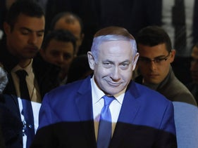 Israeli Prime minister Benjamin Netanyahu arrives at a conference of Presidents of Major American Jewish Organisations, in Jerusalem on February 18 2019