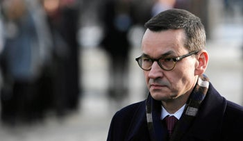Polish Prime Minister Mateusz Morawiecki at the former Nazi German concentration and extermination camp Auschwitz II-Birkenau, near Oswiecim, Poland, January 27, 2019