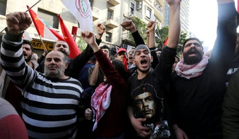 People protest against Lebanon's economic and political troubles, Beirut, Lebanon, January 20, 2019.