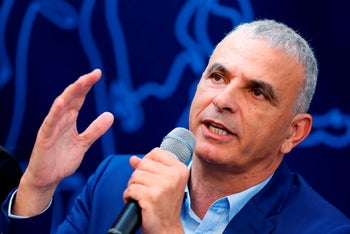 "Israeli Minister of Finance Moshe Kahlon and leader of the Israeli ""Kulanu"" party gives a press conference in the Israeli city of Tel Aviv on February 13, 2019."