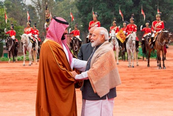 Saudi Crown Prince Mohammed bin Salman being greeted by Indian Prime Minister Narendra Modi in New Delhi, February 20, 2019.
