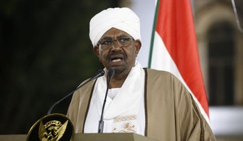 Sudanese President Omar al-Bashir delivers a speech to the nation at the presidential palace in the capital Khartoum, February 22, 2019.