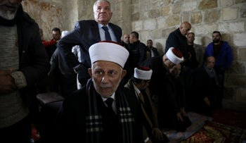File photo: Chairman of the Waqf Council, Abdel-Azeem Salhab, attends Friday prayers together with other Palestinian Muslims inside the Golden Gate near Al-Aqsa Mosque in Jerusalem, February 22, 2019.