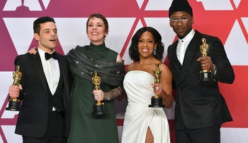 "Rami Malek, from left, winner of the award for best performance by an actor in a leading role for ""Bohemian Rhapsody"", Olivia Colman, winner of the award for best performance by an actress in a leading role for ""The Favourite"", Regina King, winner of the award for best performance by an actress in a supporting role for ""If Beale Street Could Talk"", and Mahershala Ali, winner of the award for best performance by an actor in a supporting role for ""Green Book"", pose in the press room at the Oscars on Sunday, Feb. 24, 2019, at the Dolby Theatre in Los Angeles"