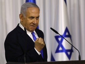 Israeli Prime Minister Benjamin Netanyahu after a meeting of the Likud party in Ramat Gan. February 21, 2019