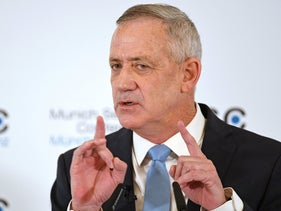 Benny Gantz speaks at the annual Munich Security Conference in Munich, Germany, February 17, 2019.