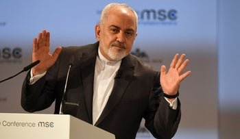 Outgoing Iranian Foreign Minister Mohammad Javad Zarif speaks at the Munich Security Conference in Munich, Germany, February 17, 2019