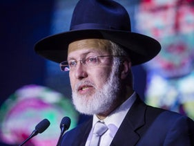 Argentina's Chief Rabbi Gabriel Davidovich delivering a speech during an annual dinner in Buenos Aires on November 8, 2018.