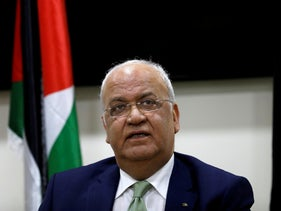 Saeb Erekat looks on during a news conference following his meeting with foreign diplomats, in Ramallah, January 30, 2019.