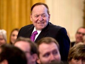 Sheldon Adelson being recognized by President Donald Trump during a Medal of Freedom ceremony at the White House, November 16, 2018.