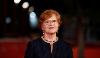 American historian and author Deborah Lipstadt poses for photographer on the red carpet on the occasion of the screening of the movie ' Denial ' at the Rome Film festival in Rome, Monday, Oct. 17, 2016.