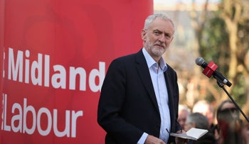 Britain's main opposition Labour Party leader Jeremy Corbyn at a Voluntary Action rally in Beeston, England, February 23, 2019.